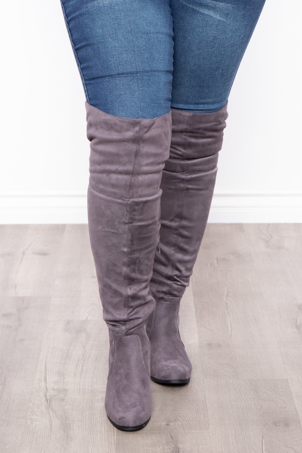 Old Glory Faux Suede Knee High Boots