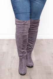 Curvy Sense -Plus_Size_Womens- Old Glory Faux Suede Knee High Boots - Grey