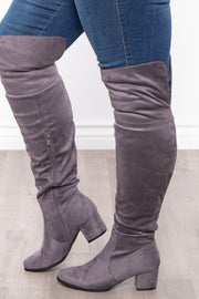 Old Glory Faux Suede Knee High Boots - Grey