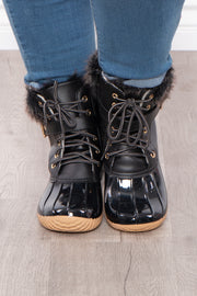 Fluffy Duck Lace Up + Zipper Boots - Black