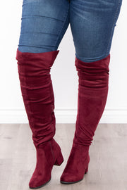 Old Glory Faux Suede Knee High Boots - Burgundy