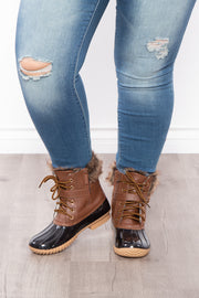 Fluffy Duck Lace Up + Zipper Boots - Cognac