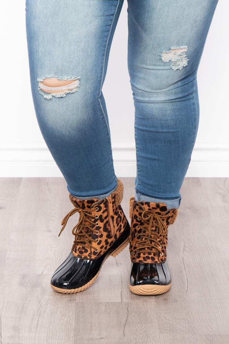 Fuzzy Navel Leopard Lace Up + Zipper Boots - Tan