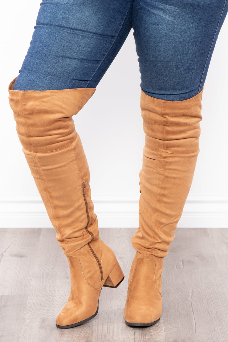 Curvy Sense -Plus_Size_Womens- Old Glory Faux Suede Knee High Boots - Tan