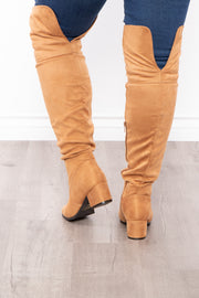 Old Glory Faux Suede Knee High Boots - Tan