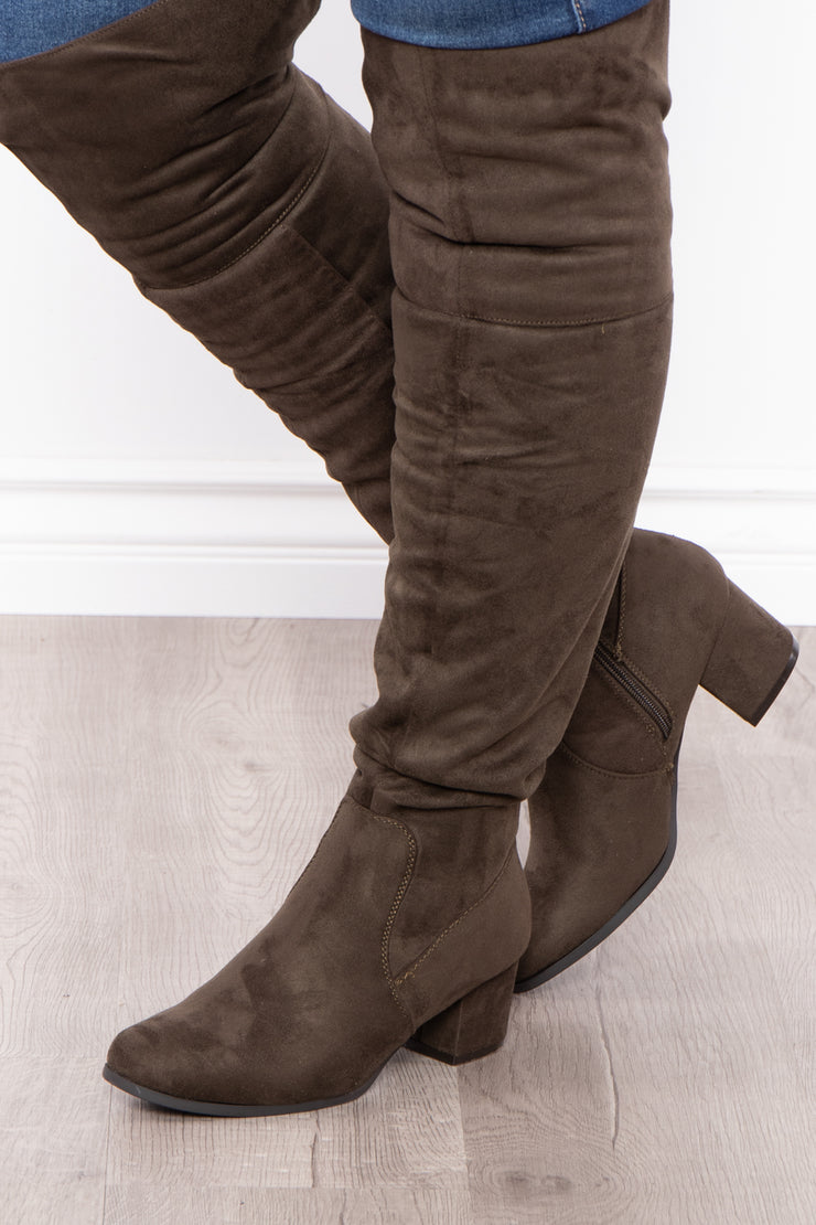 Old Glory Faux Suede Knee High Boots - Olive