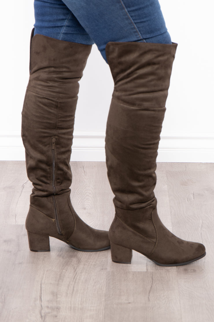 Old Glory Faux Suede Knee High Boots - Olive - Curvy Sense