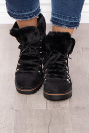 Hot Toddy Faux Fur Trim Lace Up Boots - Black