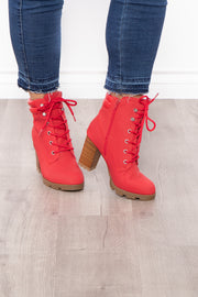 Curvy Sense -Plus_Size_Womens- New York Sour Lace-Up Heeled Boots - Red