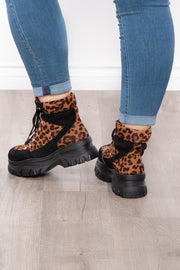 Army & Navy Leopard Print Platform Combat Boots - Brown