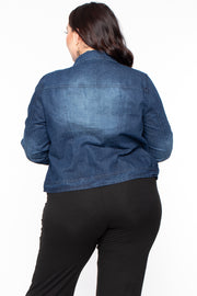 Plus Size Button Front Denim Jacket - Dark Wash