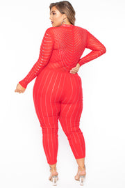 Plus Size 14K Sheer Mesh Rhinestone Jumpsuit - Red