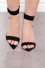 Accomplice Rhinestone Buckle Pointy Stilettos - Black