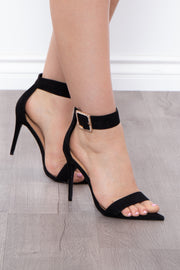 Accomplice Rhinestone Buckle Pointy Stilettos - Black - Curvy Sense