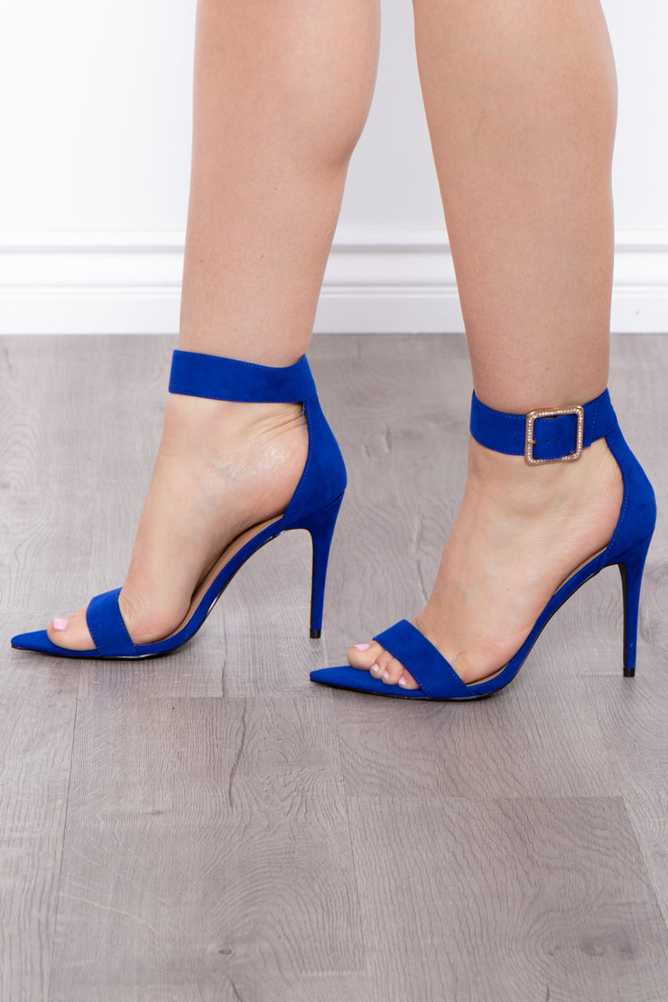 Accomplice Rhinestone Buckle Pointy Stilettos - Royal Blue