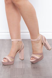 Curvy Sense -Plus_Size_Womens- Love Potion Color Block Platform Heels - Nude