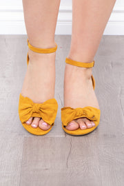 Blushing Lady Bow Block Heels - Mustard