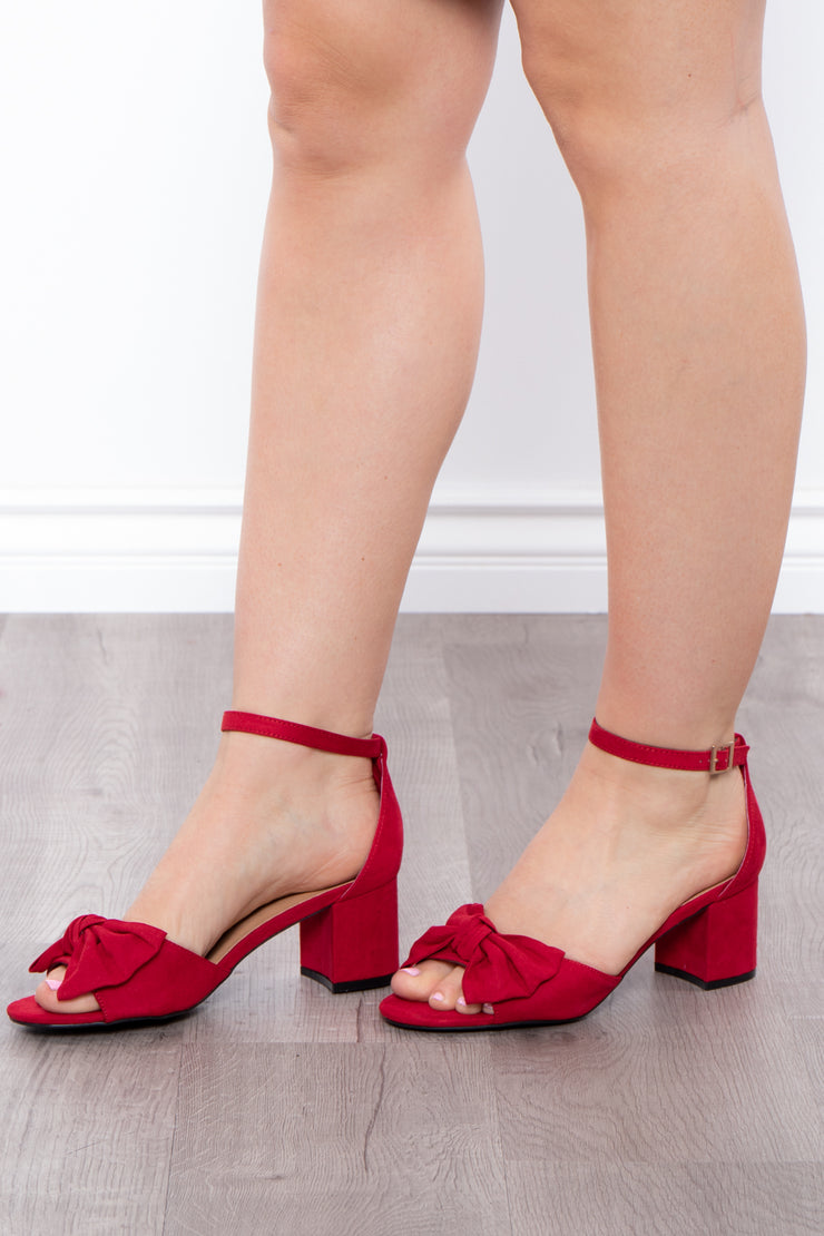 Blushing Lady Bow Block Heels - Red