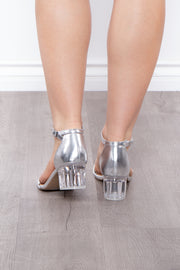 Curvy Sense -Plus_Size_Womens- Bocce Ball Lucite Block Heels - Silver