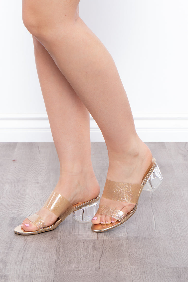 Golden Roots Double Strap Glitter Mules - Gold