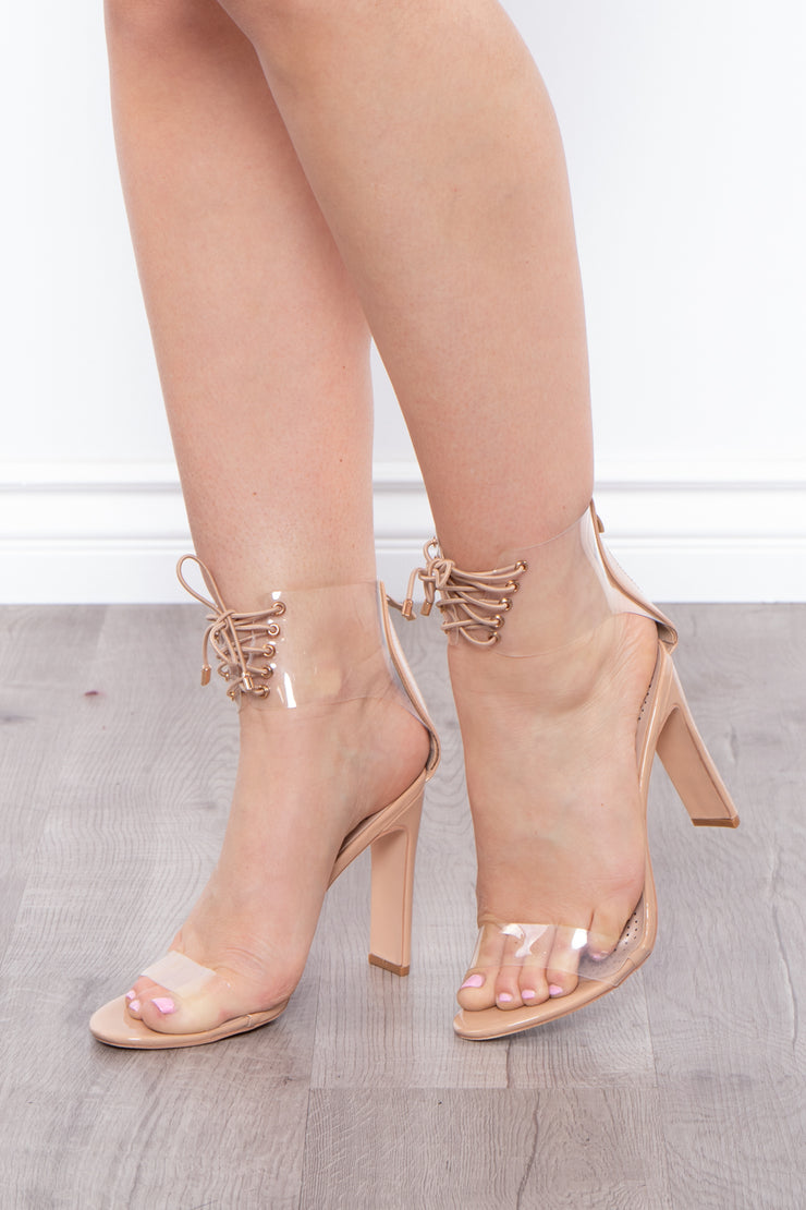 Moscato Vinyl Cut Out Lace-Up Booties - Nude