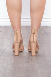 Curvy Sense -Plus_Size_Womens- Moscato Vinyl Cut Out Lace-Up Booties - Nude
