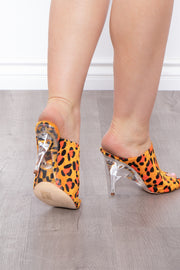 Orange Crush Leopard Lucite Mules - Orange