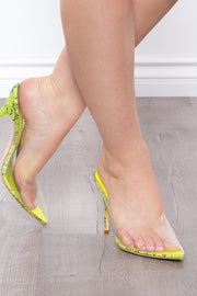 Curvy Sense -Plus_Size_Womens- Lime Cordial Vinyl Mule Pumps - Neon Green