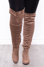 Curvy Sense -Plus_Size_Womens- Old Glory Faux Suede Knee High Boots - Taupe
