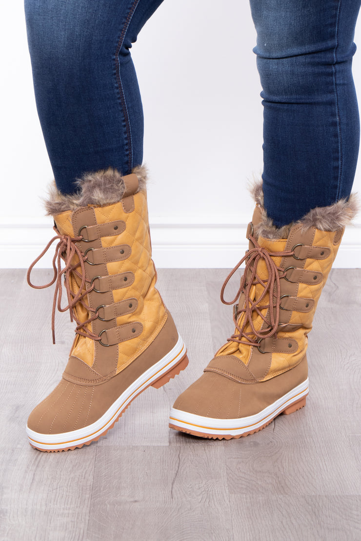 Irish Coffee Tall Lace Up Faux Fur Lined Boots - Tan - Curvy Sense