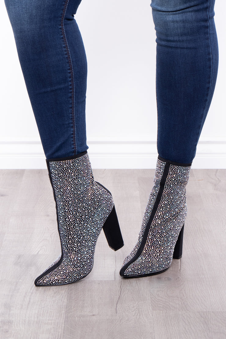 Curvy Sense -Plus_Size_Womens- Bubbly Zip-Up Rhinestone Booties - Black