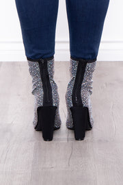 Bubbly Zip-Up Rhinestone Booties - Black