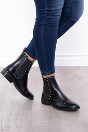 Curvy Sense -Plus_Size_Womens- Gold Rush Studded Chelsea Boots - Black