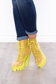 Curvy Sense -Plus_Size_Womens- Grasshopper See Thru Lace-Up Platform Boots - Neon Green