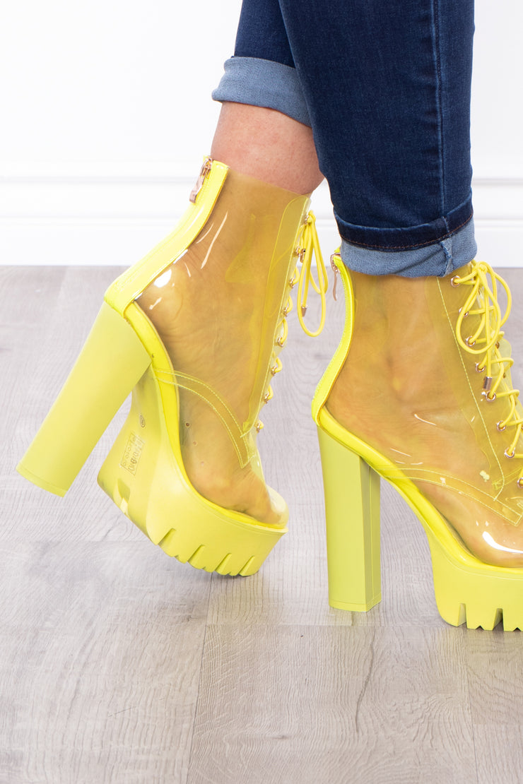 Grasshopper See Thru Lace-Up Platform Boots - Neon Green