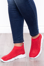 Plume Rhinestone Covered Sock Sneakers - Red - Curvy Sense