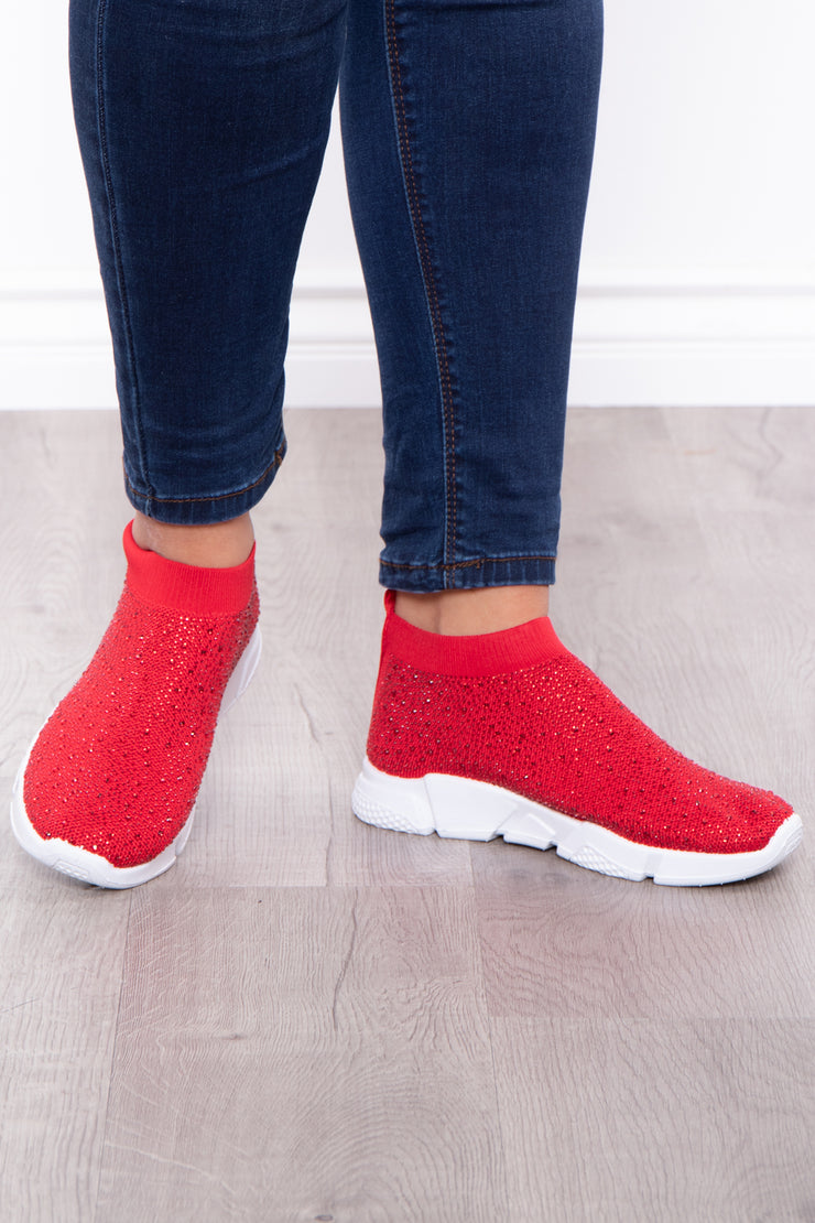 Plume Rhinestone Covered Sock Sneakers - Red