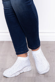 Plume Rhinestone Covered Sock Sneakers - White