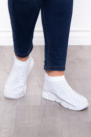 Curvy Sense -Plus_Size_Womens- Plume Rhinestone Covered Sock Sneakers - White