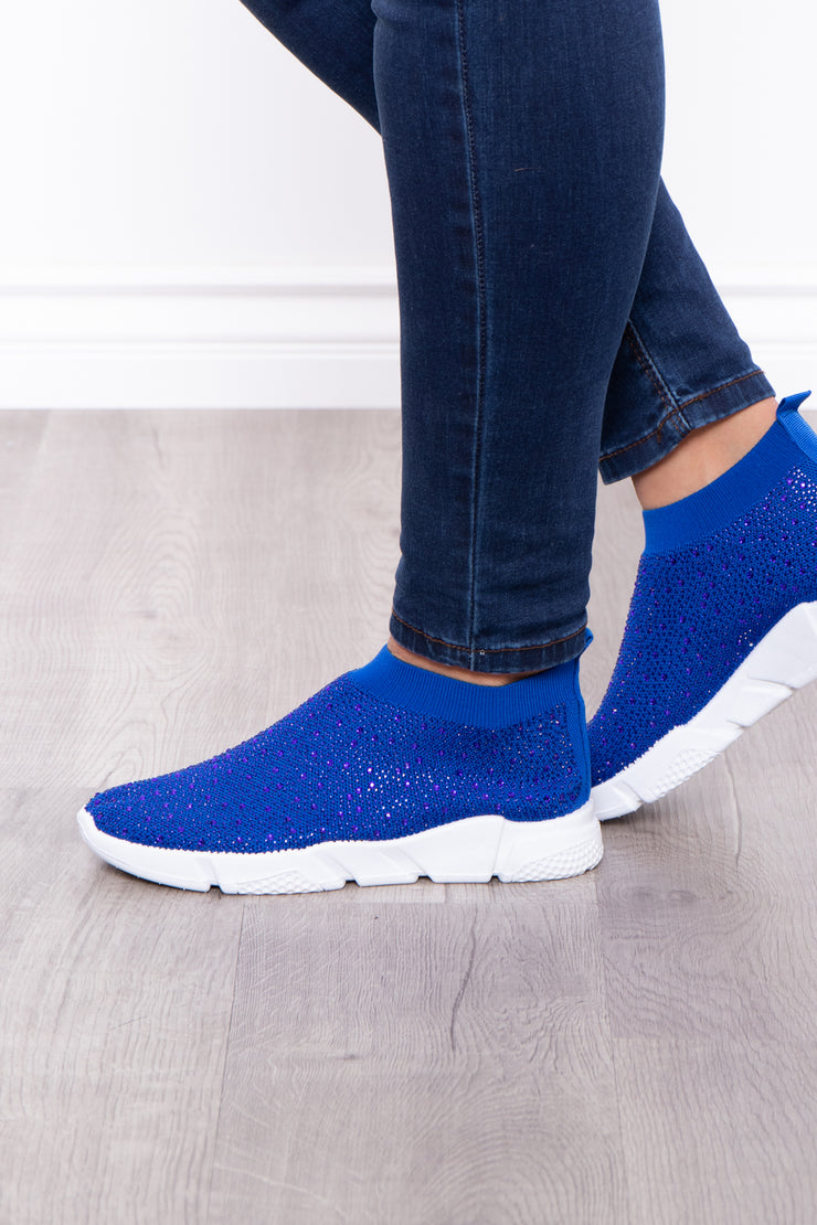 Curvy Sense -Plus_Size_Womens- Plume Rhinestone Covered Sock Sneakers - Royal Blue