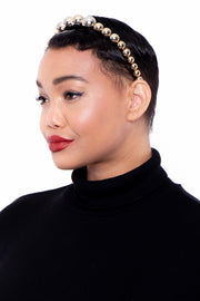 Beaded Metallic Headband - Gold