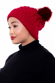Cable Knit Faux Fur Pom Pom Ear Beanie - Red