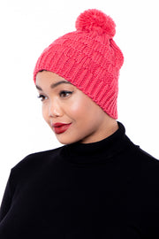 Curvy Sense -Plus_Size_Womens- Checker Knit Pom Pom Beanie - Red