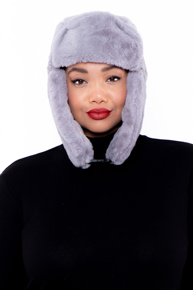 Faux Fur Trapper Hat - Grey