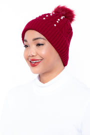 Curvy Sense -Plus_Size_Womens- Pearls & Cable Knit Faux Fur Pom Pom Beanie - Burgundy
