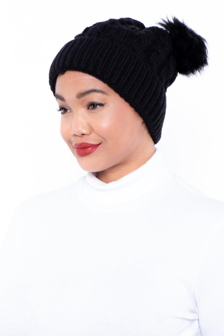 Cable Knit Faux Fur Pom Pom Ear Beanie - Black