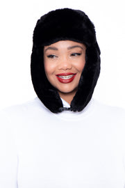 Faux Fur Trapper Hat - Black