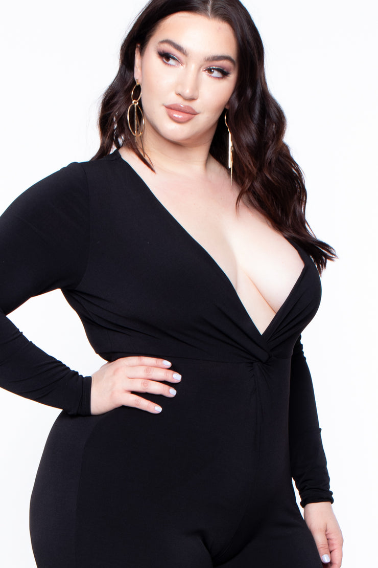 Plus Size Aanisah Plunging Jumpsuit - Black