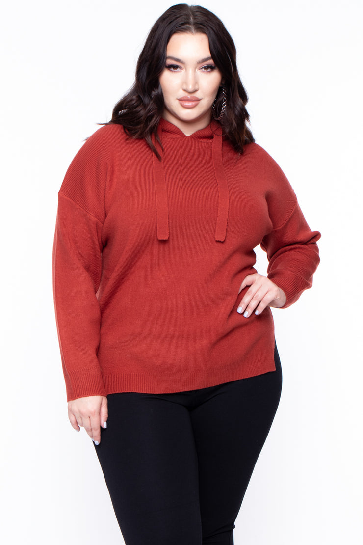 Curvy Sense -Plus_Size_Womens- Plus Size Casual Hooded Sweater - Rust