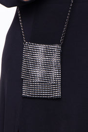Curvy Sense -Plus_Size_Womens- Hong Kong Rhinestone Crossbody Phone Bag - Black